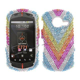 Verizon Casio G'zone Commando C771 C 771 Cover Faceplate Face Plate Housing Snap on Snapon Protective Hard Crystal Case Full Diamond V Rainbow Blue Silver Hot Pink Orange Green Cell Phones & Accessories