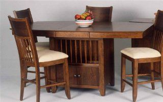 Solid Wood Counter Height Table in Warm Cherry Finish w Storage Pedestal Base   Broadway   Dining Tables