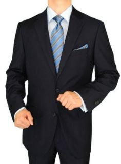 Gino Valentino 2 Piece Men's Suit 2 Button Jacket Flat Front Pants DK Navy at  Men�s Clothing store