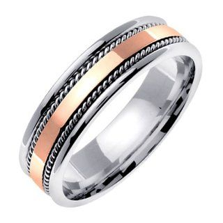 14K two tone Gold comfort fit Rose Gold Flat Surface Contemporary Men's 6 mm Wedding Band Jewelry