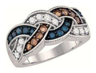 0.95 cttw 10k White Gold Blue Diamond Chocolate Brown Diamond Twisted Wedding Band Anniversary Ring (Real Diamonds 0.95 cttw, Ring Sizes 4 10) Blue And Chocolate Diamond Ring Jewelry