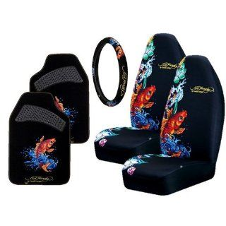 Ed Hardy Koi Fish 6 pc Set Seat Covers, Floor Mats, Steering Wheel Cover, Cling Blings Decal Automotive