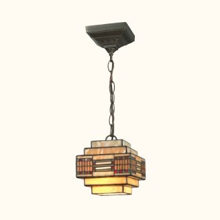 Dale Tiffany Cube Mission Pendant   Small   6.25 watt in. Dark Antique Brass   Tiffany Ceiling Lighting