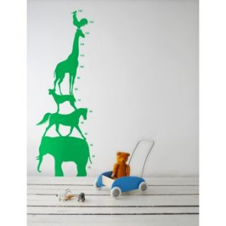 Green Animal Tower Growth Chart Wall Decal   21.7W x 59.1H in.   Decor