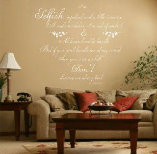Marilyn Monroe Quote, Vinyl Wall Art Sticker, Decal Mural, Bedroom, Kitchen, Lounge, 120cm wide White   Wall Decor Stickers