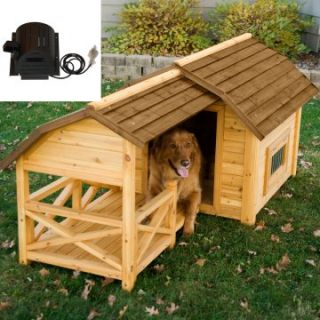Boomer & George Cedar Insulated Barn Dog House with Cooling fan   Dog Houses