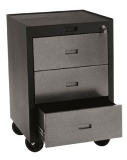 "Edsal PMB783D Industrial Gray Heavy Duty Steel Modular Workspace Storage System Mobile Tool Cabinet, 3 Drawers, 30"" Height x 23"" Width x 22"" Depth Tool Storage Sold By"