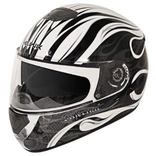 Hawk GLD 807 Infernal Series Glossy White/Black Full Face Helmet   Small Automotive