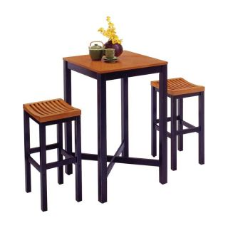 Home Styles Parker Pub Table 3 piece Set   Black with Oak Top   Pub Tables