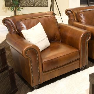 Paladia Top Grain Leather Accent Chair in Rustic   Club Chairs