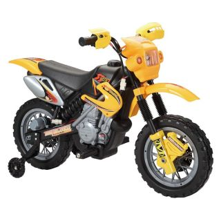 Happy Rider Dirt Bike Motorcycle Battery Powered Riding Toy   Yellow   Battery Powered Riding Toys
