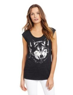 Chaser Women's Foiled Wolf On Vintage Drape Back Tee, Black, Small