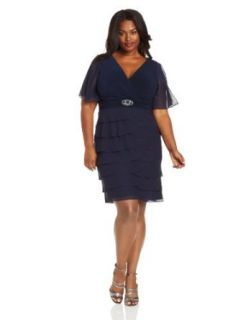 Jessica Howard Women's Plus Size Flutter Sleeve Dress, Navy, 24W