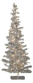 28 in. Silver Tinsel Pre lit Christmas Tree   Christmas Trees