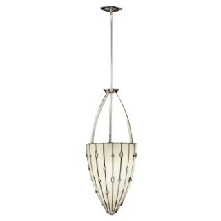 Kichler 65357 Cloudburst Tiffany 3 Light Inverted Pendant   14W in. Polished Nickel   Tiffany Ceiling Lighting