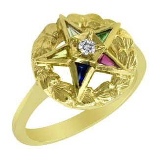 10k Yellow Gold Diamond Eastern Star Ring Jewelry