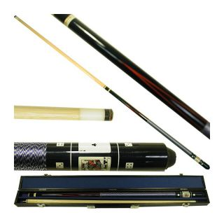 Black Royal Flush Poker Billiard Pool Cue Stick with Case   Pool Cues