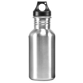 Eco Friendly Wide Mouth 17 oz, 500 mL Stainless Steel Water Bottle   BPA Free, Brushed Metal Silver  Camping And Hiking Equipment  Sports & Outdoors