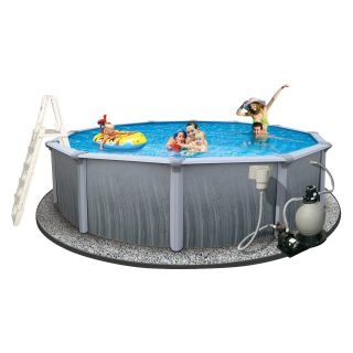 Swim Time 52 in. Martinique Round 7 in. Top Rail Pool Package   Swimming Pools & Supplies