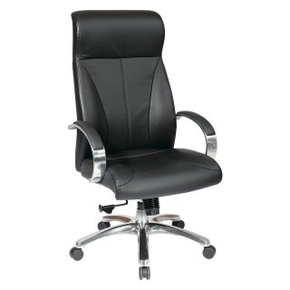 Office Star Deluxe High Back Executive Leather Chair with Polished Aluminum Finish Base and Padded Polished Aluminum Arms   Black   Desk Chairs