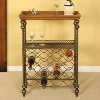 Wood & Metal Wine Table with 16 Bottle Wine Rack   Wine Furniture