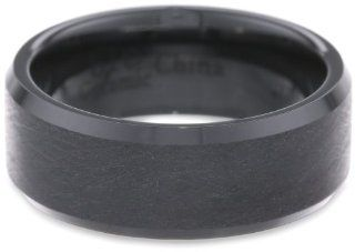 Men's Stainless Steel Black Ceramic Band Ring, Size 12 Jewelry