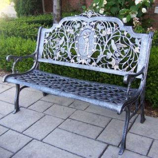 Oakland Living Golfer Cast Aluminum Bench in Antique Pewter Finish   Outdoor Benches