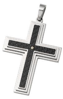 .03Ct Dia Bezel Crs Bale No Ch Stainless Steel_14Ky;Pendant; .03 Ct Tw Diamond Cross Pendant With Black Carbon Fiber CleverEve Jewelry