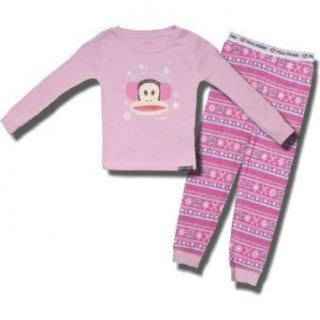 "Paul Frank ""Winter Monkey"" 2 piece Pink Pajamas for Girls   6X Clothing"