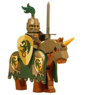 LEGO Dragon Knight with Armored Horse (Medieval Templar)   LEGO Kingdoms Castle Minifigure Full Armor and Claymore Sword Toys & Games