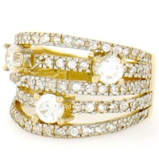 14k Solid Yellow Gold CZ Cluster Sparkly Band Ring Jewelry