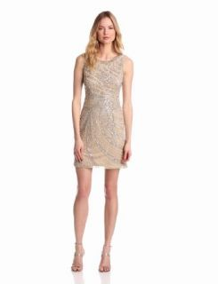 Adrianna Papell Women's Short Swirl Beaded Dress, Champagne, 4