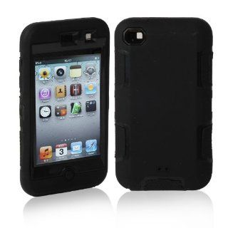 MagicSky Deluxe Hybrid Premium Rugged Hard Soft Case Skin Cover for Apple iPod Touch 4 4th Generation   1 Pack   Retail Packaging   Black/Black Cell Phones & Accessories