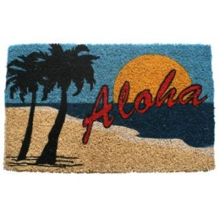 Aloha Beach Hand Woven Coir Doormat   Outdoor Doormats