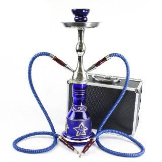 "NeverXhale Convertible Series 18"" 1 or 2 Hose Hookah Complete Set w/ Case   Majestic Glass Vase   Pick Your Color (Santorini Blue) Health & Personal Care"