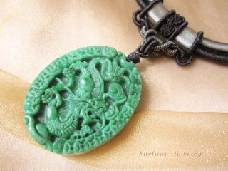 Thousand Fortune Coins Auspicious Dragon Carved Green Jade Amulet (53mm X 43mm X 4 Mm) Necklace, with Royal Black Hand Knotted Silky Cord (46 74 Cm)   Fortune Chinese Zodiac Jade Feng Shui Jewelry