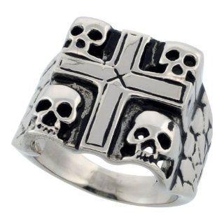 Surgical Steel Biker Ring 4 Skulls in a Cross 3/4 inch long, sizes 9   15 Jewelry