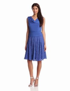 Adrianna Papell Women's Shirred Top Pleated Dress, Blue Moon, 10