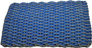 Texas Rope Doormats 148 Indoor and Outdoor Doormats, 18 by 30 Inch, Bright Blue/Gray Wave with Gray Insert  Patio, Lawn & Garden