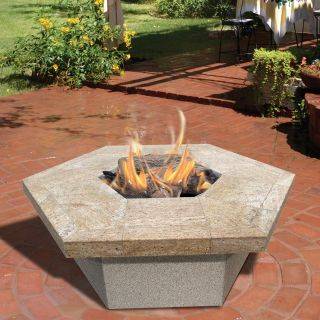 Cal Flame Stucco and Tile Hexagon Gas Fire Pit   Fire Pits
