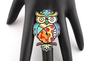 2 Pieces of Colored Cartoon Owl Style Stretch Finger Ring Jewelry