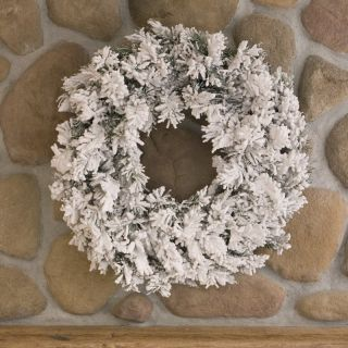 30 in. Flocked Alaskan Pine Unlit Christmas Wreath   Christmas Wreaths