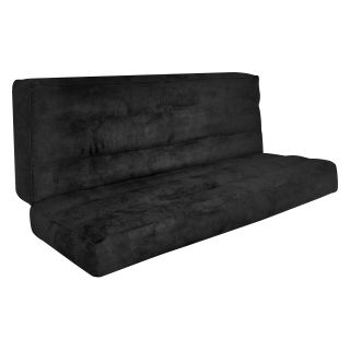 Powerfill Futon Mattress Deluxe Soft Suede   Black   Futon Mattresses
