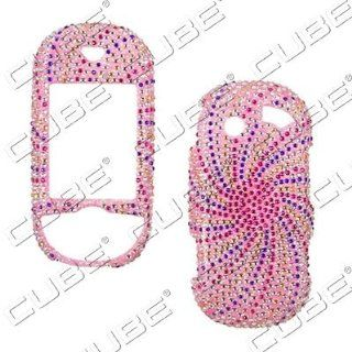 Pantech Matrix Pro c820 SWIRL Design Pink/Blue/Silver   Full Rhinestones/Diamond/Bling/Diva   Hard Case/Cover/Faceplate/Snap On/Housing Cell Phones & Accessories