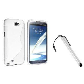 eForCity White S Shape TPU Rubber Case + Silver Stylus Pen compatible with Samsung� Galaxy Note II N7100 Cell Phones & Accessories