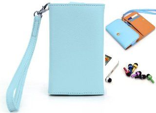Nokia Lumia 822 4G LTE Mobile Phone Baby Blue Wallet Clutch Cover Case Pouch with Bonus Mini Stylus Earphone Plug (Color & Style May Vary) + EnvyDeal Velcro Cable Tie Cell Phones & Accessories