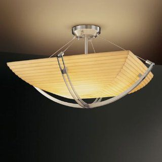 Justice Design Group Porcelina Crossbar CrossbarSix Light Brushed Nickel Semi Flush Bowl With Crossbar   Ceiling Pendant Fixtures