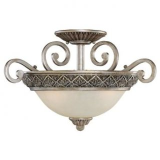 Sea Gull Lighting 75251 824 3 Light Highlands Close to Ceiling Fixture, Dusted Ivory Glass and Palladium   Seagull Highlands Palladium