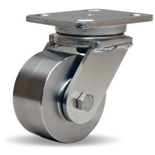 "Hamilton Workhorse Plate Caster, Swivel, Stainless Steel Wheel, Stainless Steel Plate, Precision Ball Bearing, 850 lbs Capacity, 4"" Wheel Dia, 2"" Wheel Width, 5 5/8"" Mount Height, 5"" Plate Length, 4"" Plate Width Industrial & S"