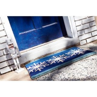 Blue Snow Flakes 18 x 30 Hand Woven Coir Doormat   Outdoor Doormats